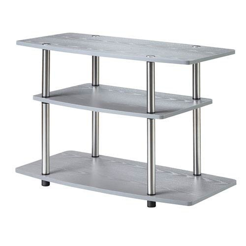 Stand Steel Modern Tv (Convenience Concepts 131020GY Designs2Go 3-Tier TV Stand, Gray)