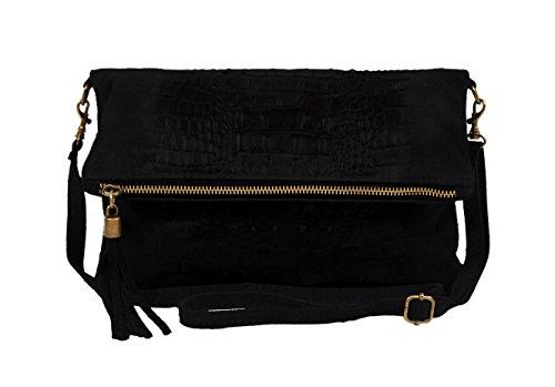 """SLIN GBAG """"MARIA Croco II L Clutch/bolso de mano/bolso de cuero auténtico/Selección de Colores, beige (gris) - Maria Croco II beige negro"""