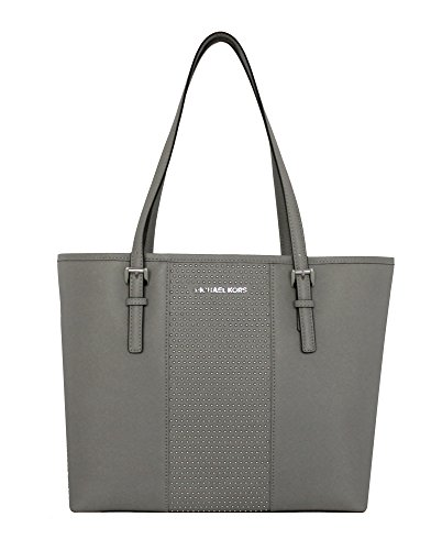 MICHAEL Michael Kors Women's Jet Set Travel Micro Stud Leather Carry All Tote Handbag (Pearl Grey) by MICHAEL Michael Kors