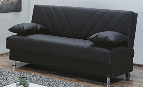 Empire Furniture USA Halifax Collection Armless Convertible Sofa Bed Sleeper with Storage Space Includes 2 Pillows, Black