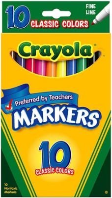Crayola Markers, Fine Line, Classic Colors, 10 ct. (3 Pack) by Crayola