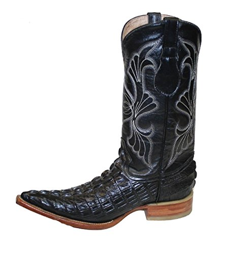 Leather Boots Handmade (Dona Michi Cowboy boot's Leather Crocodile Back Cut Cowboy Handmade Luxury Boots_Black_7.5)