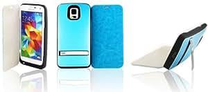 Vanda®-Flip funda de cuero Carcasa abatible con carcasa protectora con carga bateria externa para Samsung Galaxy S5 i9600 3200mah -azul