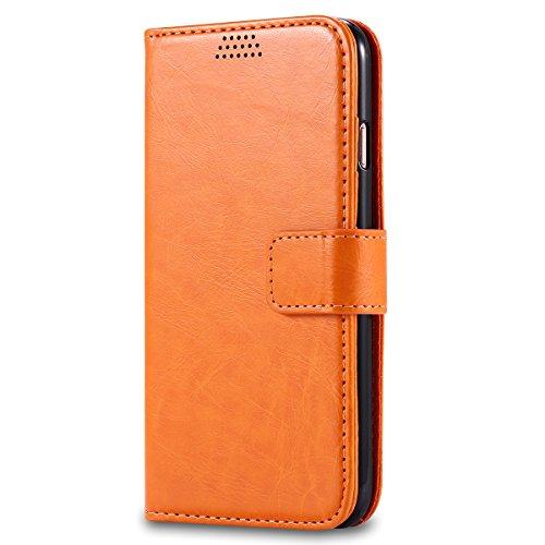 iPhone 7 4.7 inch Hülle, Moonmini® Orange PU Leder Handyhülle Magnetverschluss Brieftasche Lederhülle Tasche mit Standfunktion Card Holder für iPhone 7 4.7 inch
