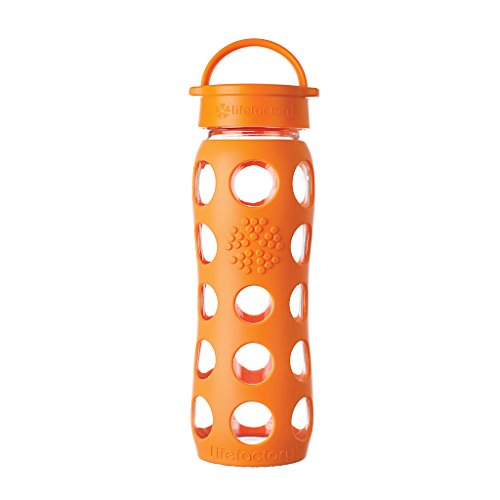 Lifefactory 22-Ounce BPA-Free Glass Water Bottle with Leakproof Cap and Silicone Sleeve, Orange (Orange 22 Glass)