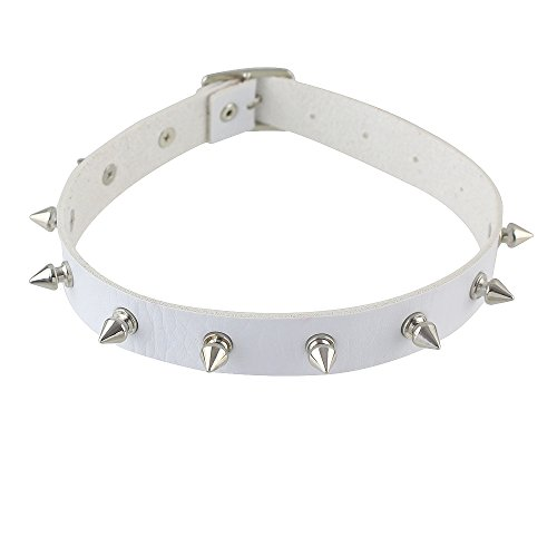 men Gothic Punk Rock Style Colored Pu Leather Spike Choker Necklace Jewelry Pouch (white) ()