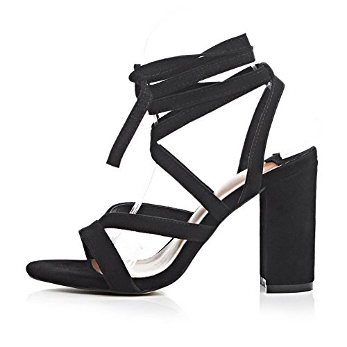 Soft AllhqFashion Lace up High Sandals Toe Heels Solid Women's Open Black Material SBrBtqwf