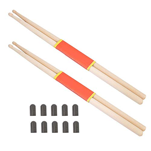 VGEBY1 Drum Stick, 2 Pairs 5A Solid Maple Drumstick & 10Pcs Drum Stick Cover Tip Drum Kit Accessory