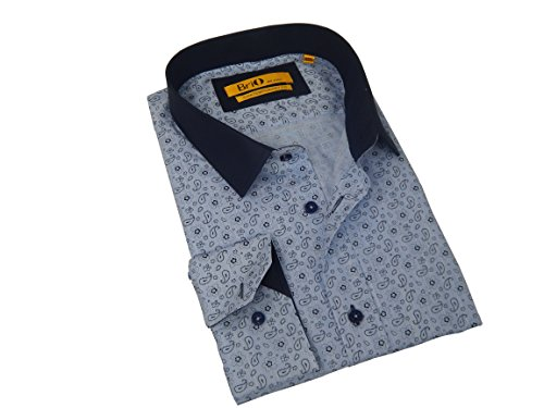 Brio Milano Fine Cut Cotton Button Down Dress Shirt With Blue Paisley Pattern Design Navy Trim