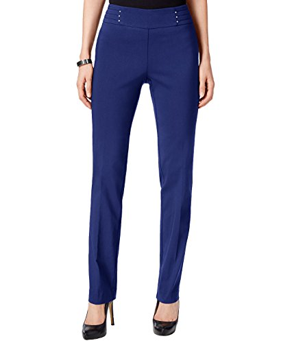 JM Collection Petite Studded Pull-On Pants (Blue Sapphire, PS/Petite Small)
