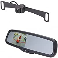 Echomaster KLI3MAD License Plate Camera (Mounts Behind) (PCAM-10I-N) / 3.5 Rear Camera Display Mirror (PMM-35-ADPL)