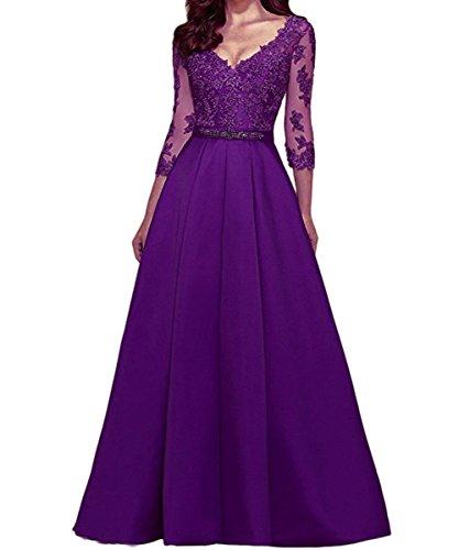 Abendkleider Ausschnitt V Violett Maxi KAIDUN Party Langarm Damen Ball 4YqwEOapn