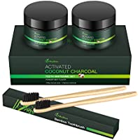 2 Pack MayBeau Teeth Whitening with 2 Bamboo Toothbrushes Organic Activated Charcoal Powder (4.2 oz)
