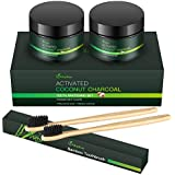 MayBeau 2 Pack Teeth Whitening with 2 Bamboo Toothbrushes Organic Activated Charcoal Powder for Teeth Stain Removal,Non Abrasive, Safe & Natural Tooth Whitener Polish&Rejuvenate Teeth(4.2 oz)