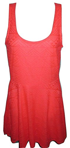 Charlotte Russe Womens Geometric Lace Skater Dress Small Neon Coral Pink (Charlotte Russe Clothing)