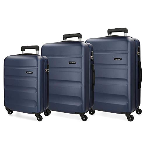 Roll Road Flex Set de Bagages Bleu 55/65/75 cms Rigide ABS Serrure à combinaison 182L 4 roues Bagage à main