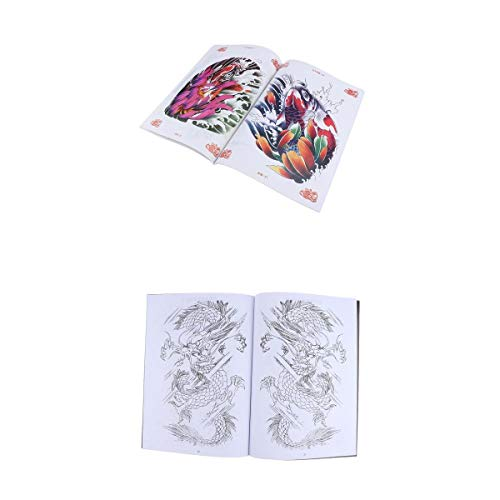 A4 74 Pages Color Carp Sketch Reference Tattoo Book + A4 48 Pages Classical Dragon Pattern Design Manuscript for Body Art