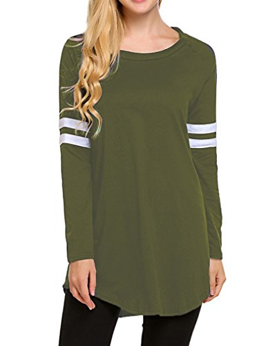 (OURS Women Winter Blouse Loose Long Sleeve T-Shirt Color Block Shirts Tunic Baseball Tops (M, Army Green))
