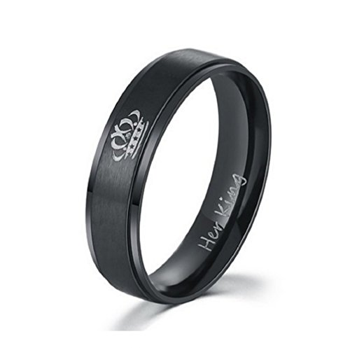 Stainless Steel Her King Engagement Wedding Bands Anniversary Gift for Him, Black (His Size 9)