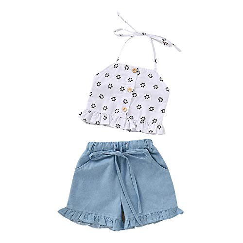 Toddler Baby Girl Floral Halter Outfit Ruffle Button Crop Tops+Denim Short with Bowknot Two Piece Summer Clothes Set (1-2 Years, Strap) ()