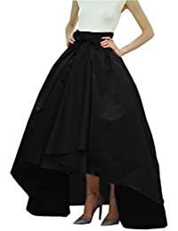 Women Taffeta Bowknot High-Low Prom Party Skirt