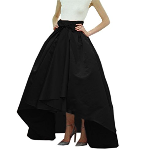 Lisong Women Taffeta Bowknot High-Low Prom Party Skirt 8 US Black