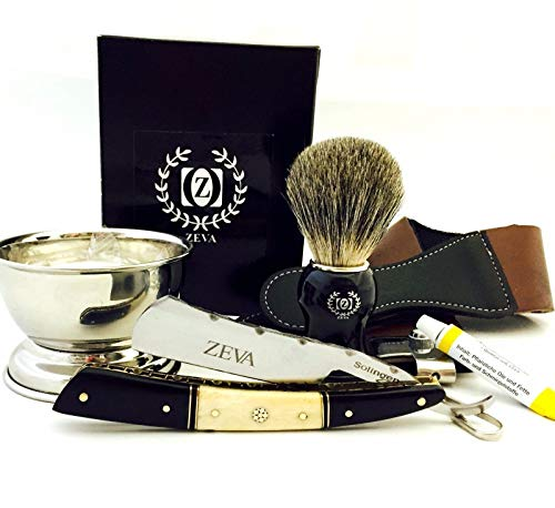 ZEVA Men's Buffalo Horn Camel Bone Straight Razor Shaving Set kit in Gift Box