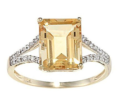 - Instagems 10k Yellow Gold Emerald-Shape Citrine and Split-Shank Diamond Ring