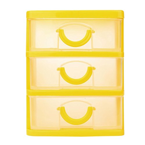 Yellow Drawers - Pulison(TM) Durable Plastic Mini Desktop Drawer Sundries Case Small Objects (S, ,Yellow)