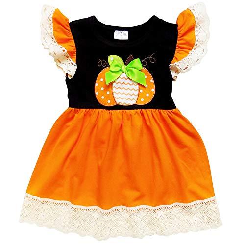 So Sydney Girls Toddler Fall Holiday Polka Dot, Scroll, Stripe Pumpkin Dress (S (3T), Pumpkin & Lace) (Scroll Pumpkin)