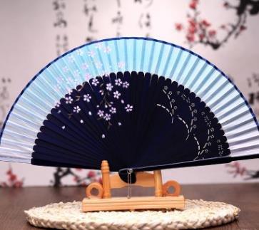 Labu Store Silk Hollow Rib Hand Fan Japanese Folding Fan Pocket Sakura Painted Dance Fan Unisex by Labu Store