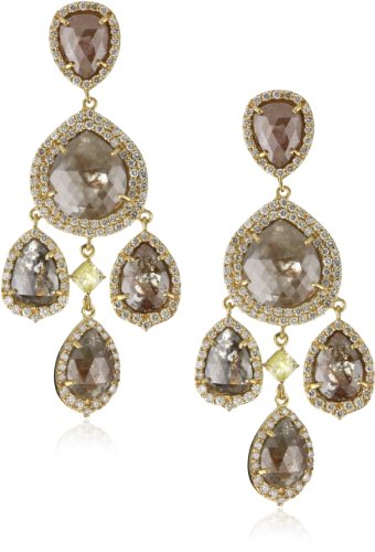 Sutra One of a Kind 18k Gold and Natural Diamond Chandelier Earrings