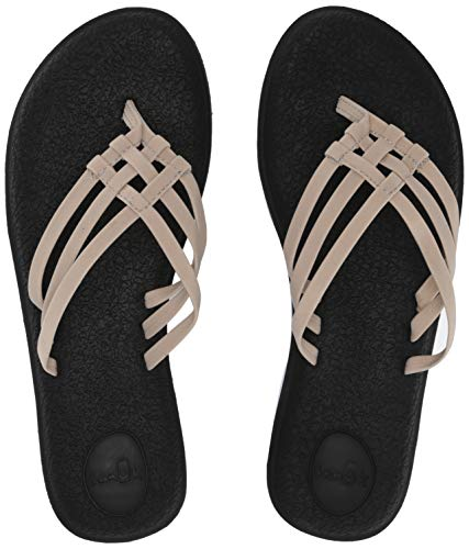 Sanuk Women's Yoga Salty Flip-Flop, Natural, 10 M US ()