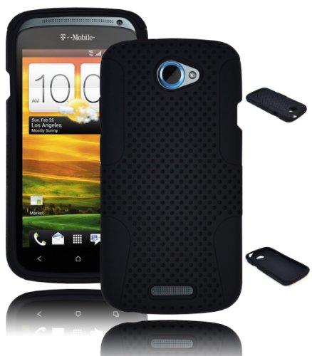 Bastex Heavy Duty Hybrid Case for HTC One S - Black Silicone & Mesh Shell