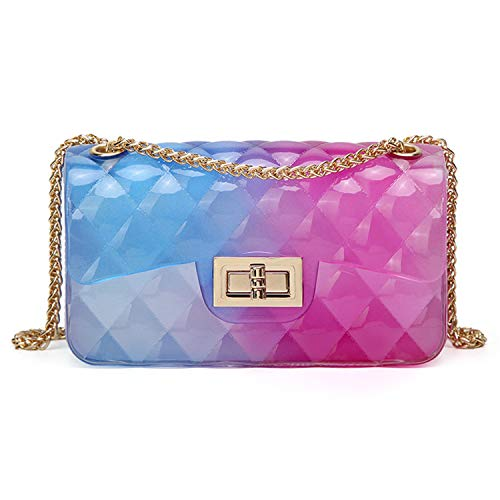 Anlydia Transparent Messenger Bag Lady Gradient Candy Color Shoulder Purses Mini Crossbody -