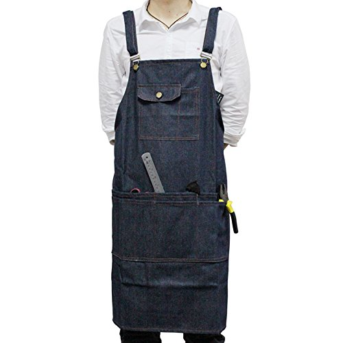boshiho Denim Jean Work Apron, Adjustable Heavy Duty Work Apron Chef Apron with Cross-Back Straps (Blue) by boshiho (Image #6)