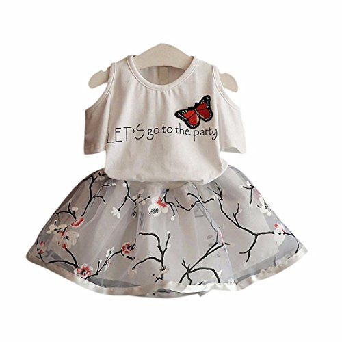 Kehen Kids Toddler Girls 2pcs Outfits Butterfly Embroidery Short Sleeve T-Shirt Tops + Tutu Skirt (White, 4-5T) - Knit Butterfly Gown