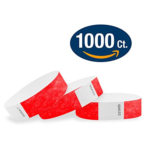"WristCo Neon Red 3/4"" Tyvek Wristbands - 1000 Pack Paper Wristbands For Events"