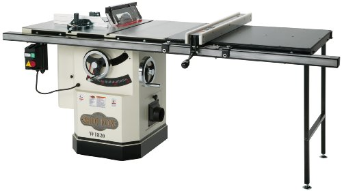 Shop Fox W1820 3 HP 10-Inch Table Saw with Extension Table and Riving Knife by Shop Fox