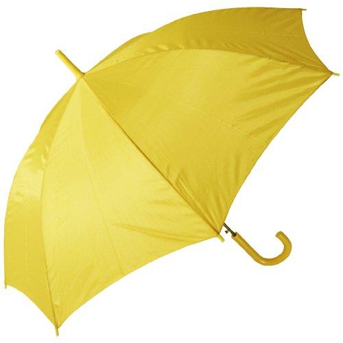 RainStoppers Auto Open European Hook Handle Umbrella, Yellow, 48-Inch