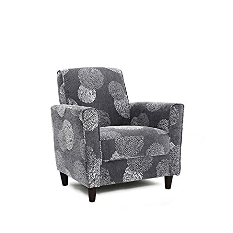 Contemporary Style Wooden Legs Sunflower Arm Accent Chair | Upholstery Fabric, Espresso Finish, Living Room Decor - Includes Modhaus Living Pen - Upholstery Living Room Furniture