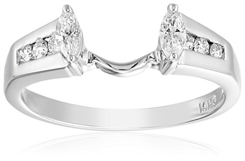 14k White Gold Round and Marquise Diamond Solitaire Engagement Ring Enhancer (1/3 carat, H-I Color, I1-I2 Clarity), Size 6 ()