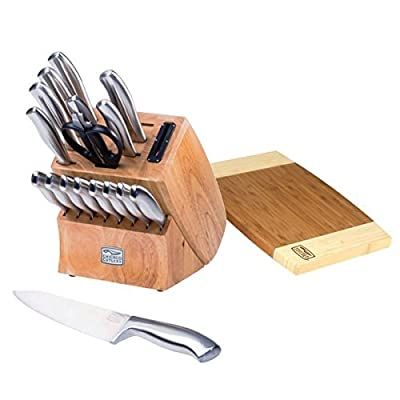 Bundle for Chicago Cutlery 19-Piece Insignia Steel Knife Block with In-Block Sharpener and Cutting Board