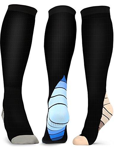 Compression Socks Men Women Knee High for Sports, Athletic, Running, Travel, Gym, Nurses, Pregnancy, L/XL, 15-20 mmHg