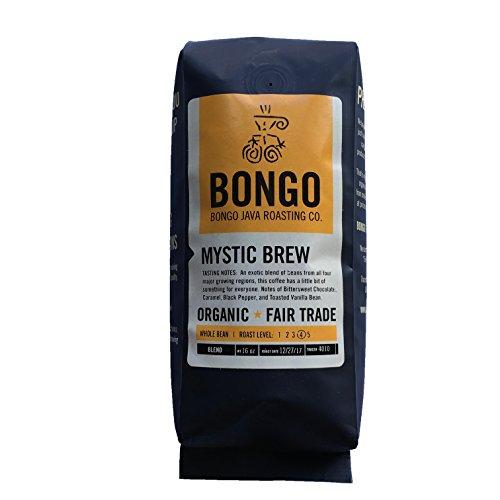 Bongo Java Roasting Co. Mystic Stout Blend, Organic Fair Trade Whole Bean Coffee, Dark Roast