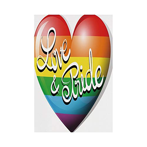 Polyester Garden Flag Outdoor Flag House Flag Banner,Pride Decorations,Cartoon Style Striped Colorful Heart Symbol Love and Pride Stylized Text,Multicolor,for Wedding Anniversary Home Outdoor Garden D ()
