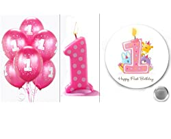 3 Piece Bundle: Pink 1st Birthday Polka Dot Candle, Magenta #1 Balloons (6 Count) and Happy First Birthday Button by Lilly and the Bee Novelties