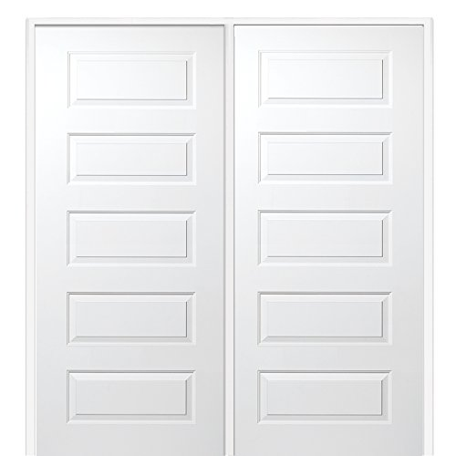 National Door Company Z009468L Solid Core Molded 5-Panel, Left Hand Prehung Interior Double Door, 60'' x 80'' by National Door Company