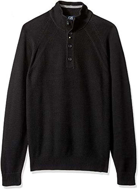 Cutter Męskie Textured Cotton-Rich Classic Button Mock Neck Reuben Sweater Pullover: Odzież