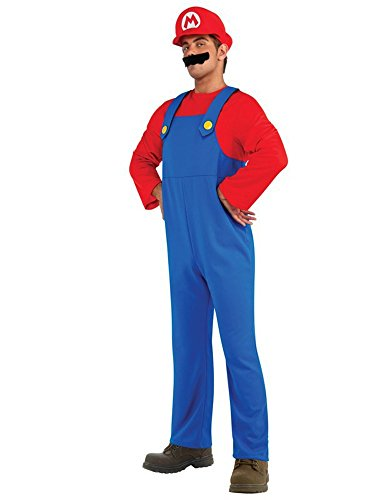 Super Plumber Brother Adult Costume Halloween (Medium, Red) -